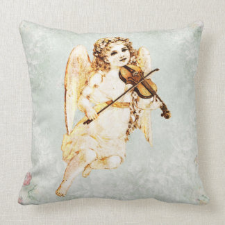 Angel Playing a Violin on Vintage Paper Background Throw Pillow