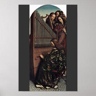 Angel Playing By Hubert Van Eyck (Best Quality) Poster