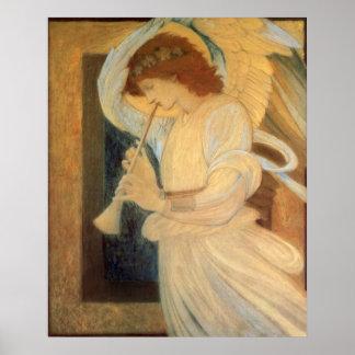 Angel Playing Flageolet Burne Jones Vintage Music Print