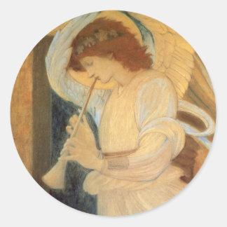 Angel Playing Flageolet Burne Jones Vintage Music Stickers
