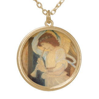 Angel Playing Flageolet By Burne Jones Gold Plated Necklace