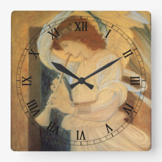 Angel Playing Flageolet By Burne Jones Square Wall Clock