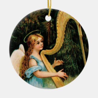 Angel Playing Harp in Woods Keepsake Art Ornament