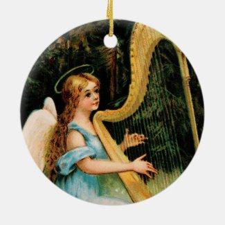 Angel Playing Harp in Woods Keepsake Art Ornament