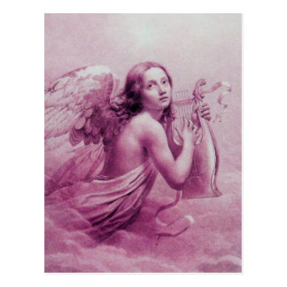 ANGEL PLAYING LYRA OVER THE CLOUDS, Antique Pink Postcard