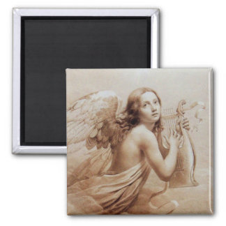 ANGEL PLAYING LYRA OVER THE CLOUDS brown 2 Inch Square Magnet