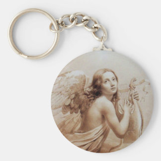 ANGEL PLAYING LYRA OVER THE CLOUDS brown Basic Round Button Keychain