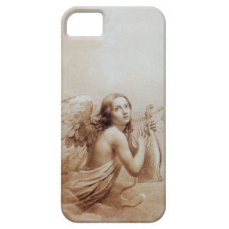 ANGEL PLAYING LYRA OVER THE CLOUDS brown iPhone 5 Cover