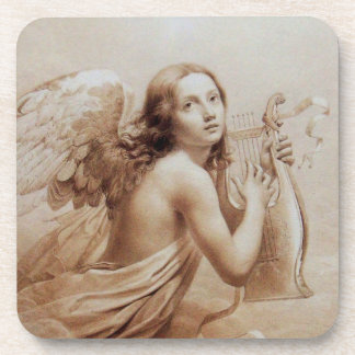 ANGEL PLAYING LYRA OVER THE CLOUDS brown Beverage Coasters