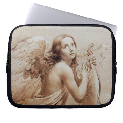 ANGEL PLAYING LYRA OVER THE CLOUDS brown Laptop Computer Sleeve