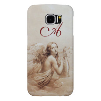 ANGEL PLAYING LYRA OVER THE CLOUDS brown monogram Samsung Galaxy S6 Cases