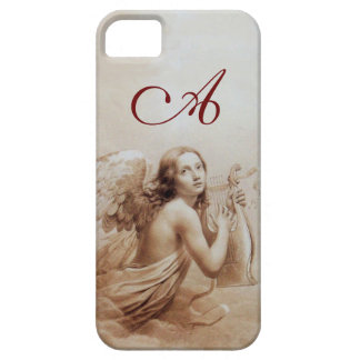 ANGEL PLAYING LYRA OVER THE CLOUDS brown monogram iPhone 5 Covers