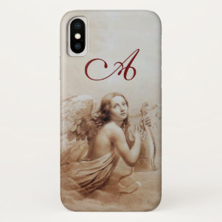 ANGEL PLAYING LYRA OVER THE CLOUDS brown monogram iPhone X Case