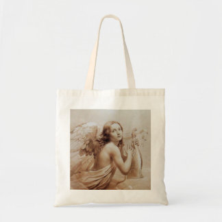 ANGEL PLAYING LYRA OVER THE CLOUDS brown Tote Bag