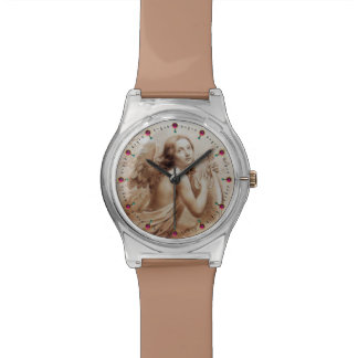 ANGEL PLAYING LYRA OVER THE CLOUDS brown Wristwatch