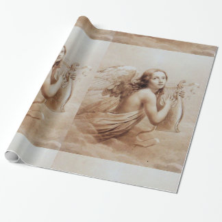 ANGEL PLAYING LYRA OVER THE CLOUDS brown Gift Wrapping Paper