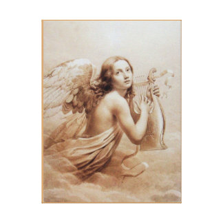 ANGEL PLAYING LYRA OVER THE CLOUDS CANVAS PRINT