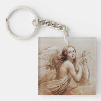 ANGEL PLAYING LYRA OVER THE CLOUDS Double-Sided SQUARE ACRYLIC KEYCHAIN