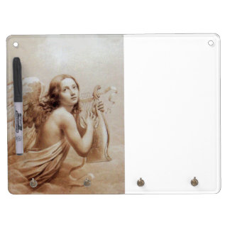 ANGEL PLAYING LYRA OVER THE CLOUDS DRY ERASE BOARD WITH KEYCHAIN HOLDER