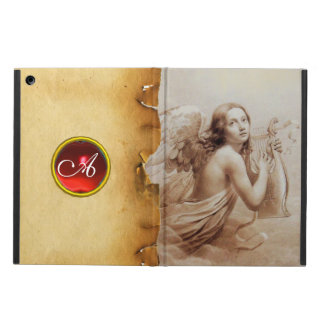 ANGEL PLAYING LYRA OVER THE CLOUDS ,GEM MONOGRAM COVER FOR iPad AIR