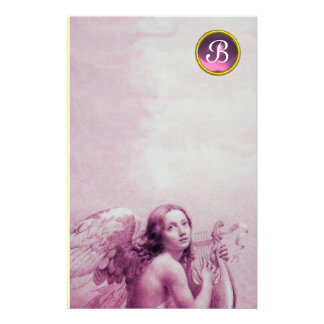 ANGEL PLAYING LYRA OVER THE CLOUDS ,GEM MONOGRAM STATIONERY