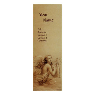 ANGEL PLAYING LYRA OVER THE CLOUDS Monogram Gold Double-Sided Mini Business Cards (Pack Of 20)
