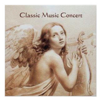 ANGEL PLAYING LYRA OVER THE CLOUDS,Monogram Custom Invitation