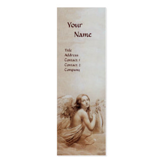 ANGEL PLAYING LYRA OVER THE CLOUDS Monogram Pearl Double-Sided Mini Business Cards (Pack Of 20)