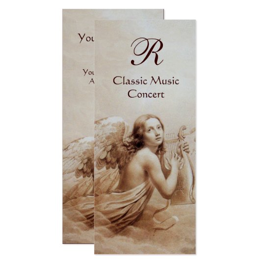 ANGEL PLAYING LYRA OVER THE CLOUDS,Monogram Silver Card