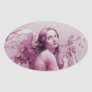 ANGEL PLAYING LYRA OVER THE CLOUDS OVAL STICKER