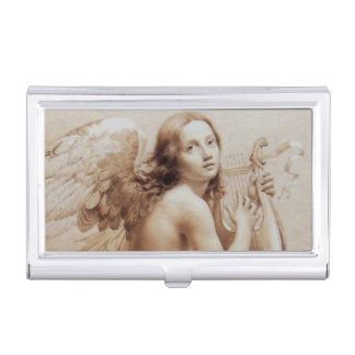 ANGEL PLAYING LYRA OVER THE CLOUDS BUSINESS CARD HOLDERS
