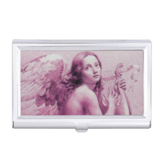 ANGEL PLAYING LYRA OVER THE CLOUDS BUSINESS CARD CASES