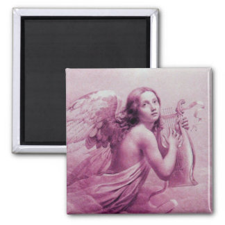 ANGEL PLAYING LYRA OVER THE CLOUDS pink 2 Inch Square Magnet