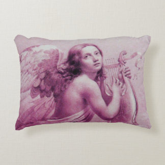ANGEL PLAYING LYRA OVER THE CLOUDS pink Accent Pillow