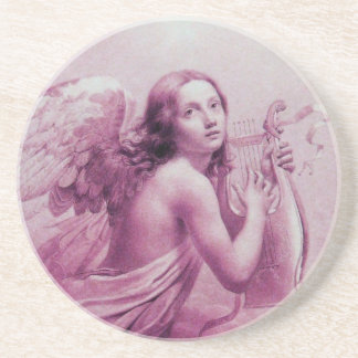 ANGEL PLAYING LYRA OVER THE CLOUDS,pink Drink Coaster