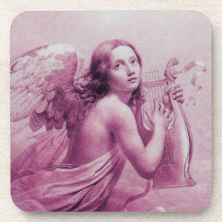 ANGEL PLAYING LYRA OVER THE CLOUDS pink Drink Coasters