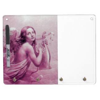 ANGEL PLAYING LYRA OVER THE CLOUDS pink fuchsia Dry Erase Board With Keychain Holder