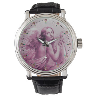 ANGEL PLAYING LYRA OVER THE CLOUDS Pink Gemstones Wrist Watch