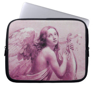ANGEL PLAYING LYRA OVER THE CLOUDS pink Laptop Computer Sleeves