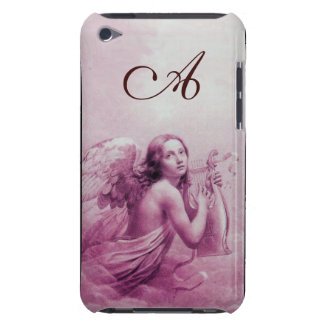 ANGEL PLAYING LYRA OVER THE CLOUDS pink monogram Case-Mate iPod Touch Case