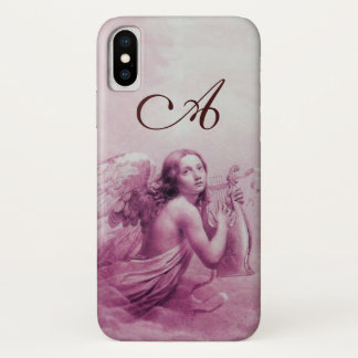 ANGEL PLAYING LYRA OVER THE CLOUDS pink monogram iPhone X Case