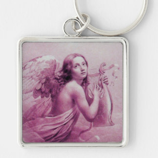 ANGEL PLAYING LYRA OVER THE CLOUDS pink Silver-Colored Square Keychain