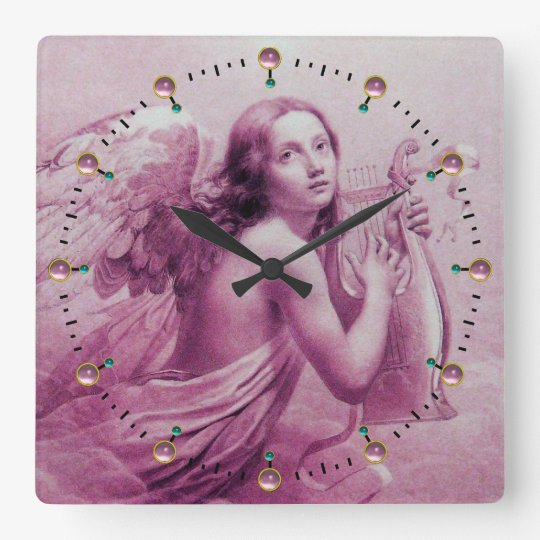 ANGEL PLAYING LYRA OVER THE CLOUDS Pink Square Wall Clock