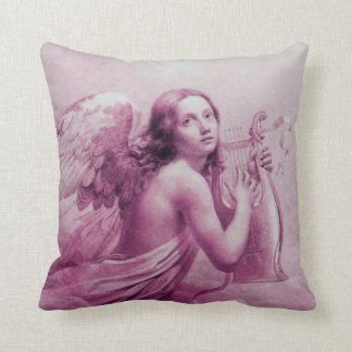 ANGEL PLAYING LYRA OVER THE CLOUDS pink Throw Pillow