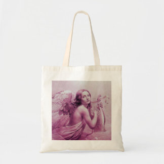 ANGEL PLAYING LYRA OVER THE CLOUDS pink Tote Bag