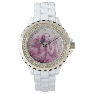 ANGEL PLAYING LYRA OVER THE CLOUDS Pink Watches