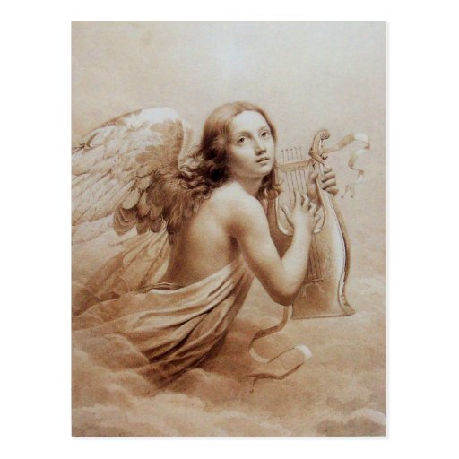 ANGEL PLAYING LYRA OVER THE CLOUDS POSTCARD