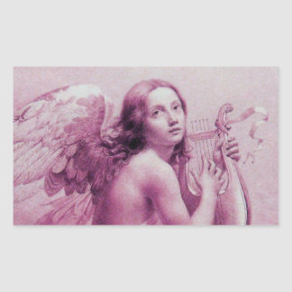 ANGEL PLAYING LYRA OVER THE CLOUDS RECTANGULAR STICKER