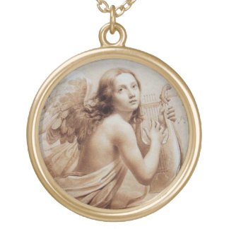 ANGEL PLAYING LYRA OVER THE CLOUDS ROUND PENDANT NECKLACE