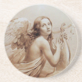 ANGEL PLAYING LYRA OVER THE CLOUDS SANDSTONE COASTER